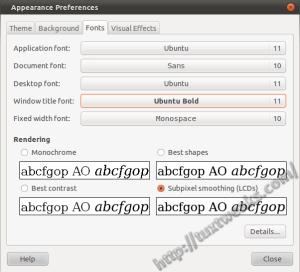 Ubuntu Font Preferences