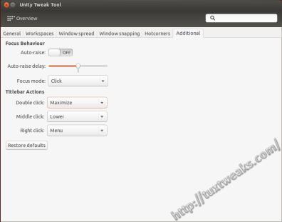 Unity Tweak Tool Window Manager Additional Settings