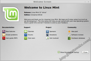 Mint 15 Welcome Screen