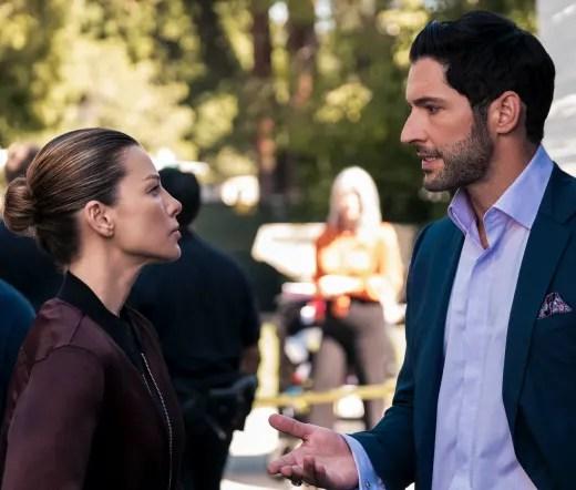 Lucifer and Chloe on Set Season 5 Episode 3