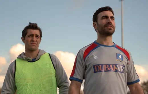 Phil Dunster and Brett Goldstein as Jamie and Roy - Ted Lasso Season 1 Episode 3