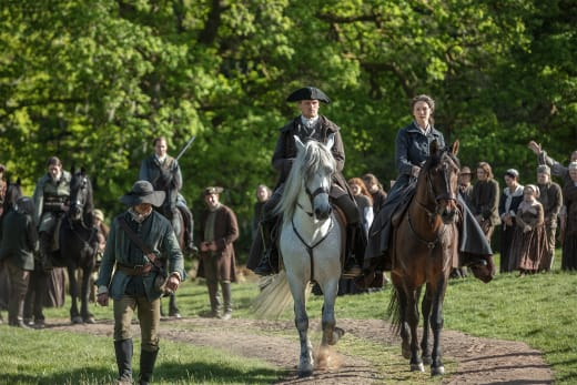 Jamie and Claire Ride Together - Outlander