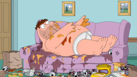 Peter covered in his own filth Family Guy