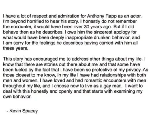 spacey statement