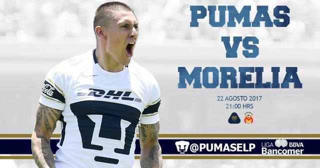 Partido Pumas vs Morelia en Vivo Liga MX 2017