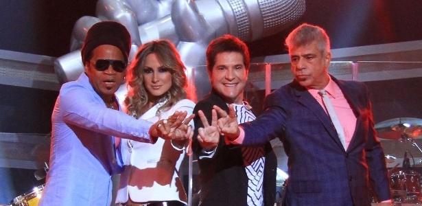 """Os quatro jurados do """"The Voice Brasil"""": Carlinhos Brown, Claudia Leitte, Daniel e Lulu Santos  (18/9/12)"""