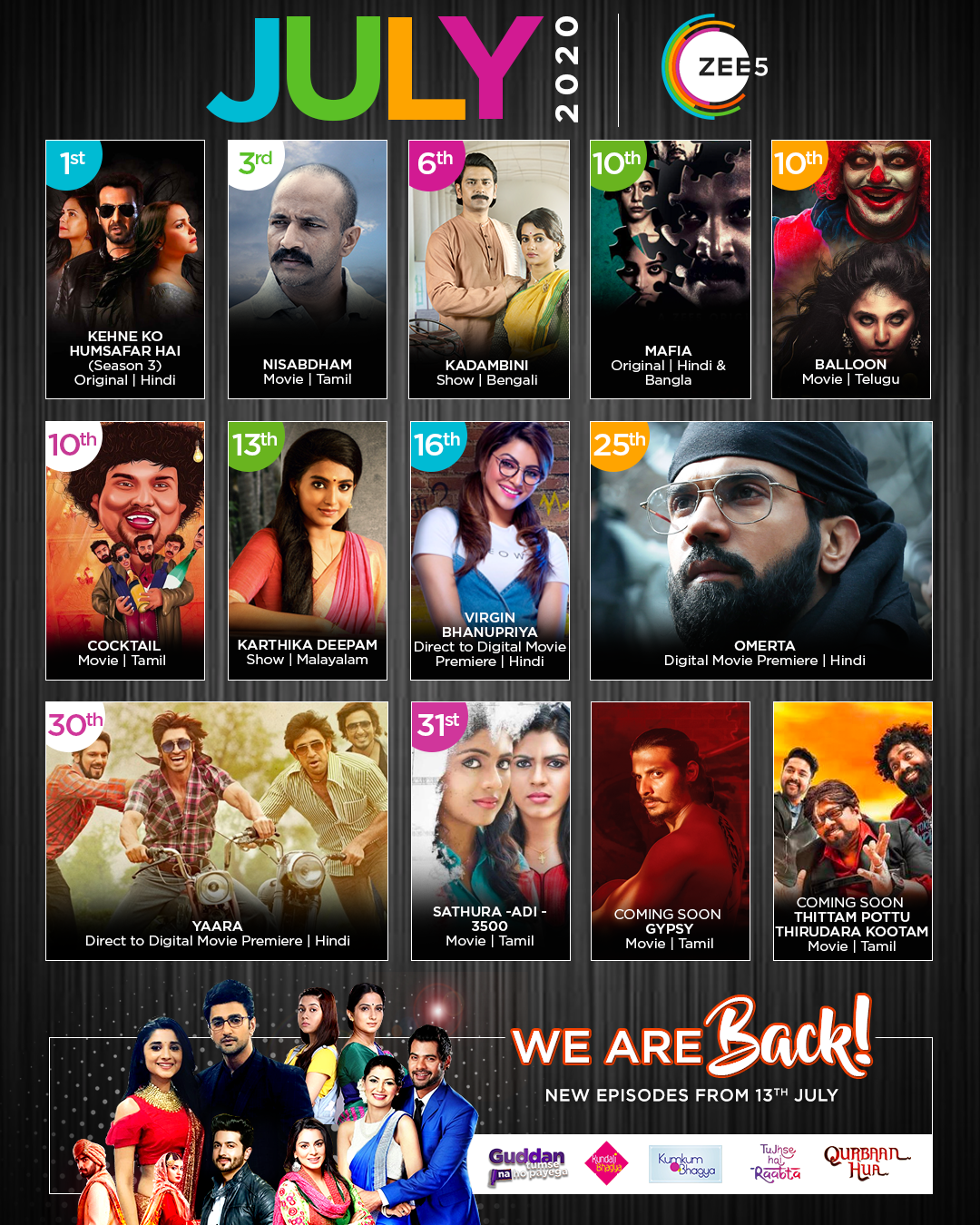 Zee5 Global rolls out a content-packed July with new movies, TV shows, and direct-to-digital movies