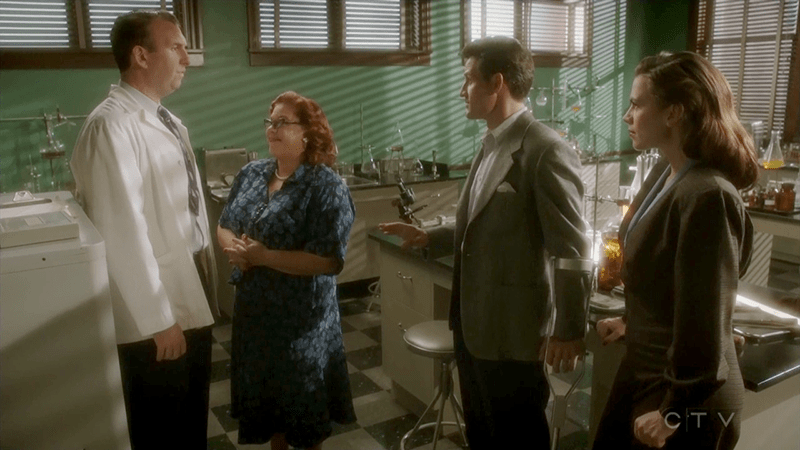 "Agent Carter 2x05 ""The Atomic Job"" -- Pictured -- Matt Braunger as Dr. Samberly, Lesley Boone as Rose, Enver Gjokaj as Agent Daniel Sousa and Hayley Atwell as Agent Peggy Carter"