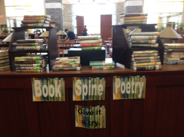 Book Spine Poetry Library Display