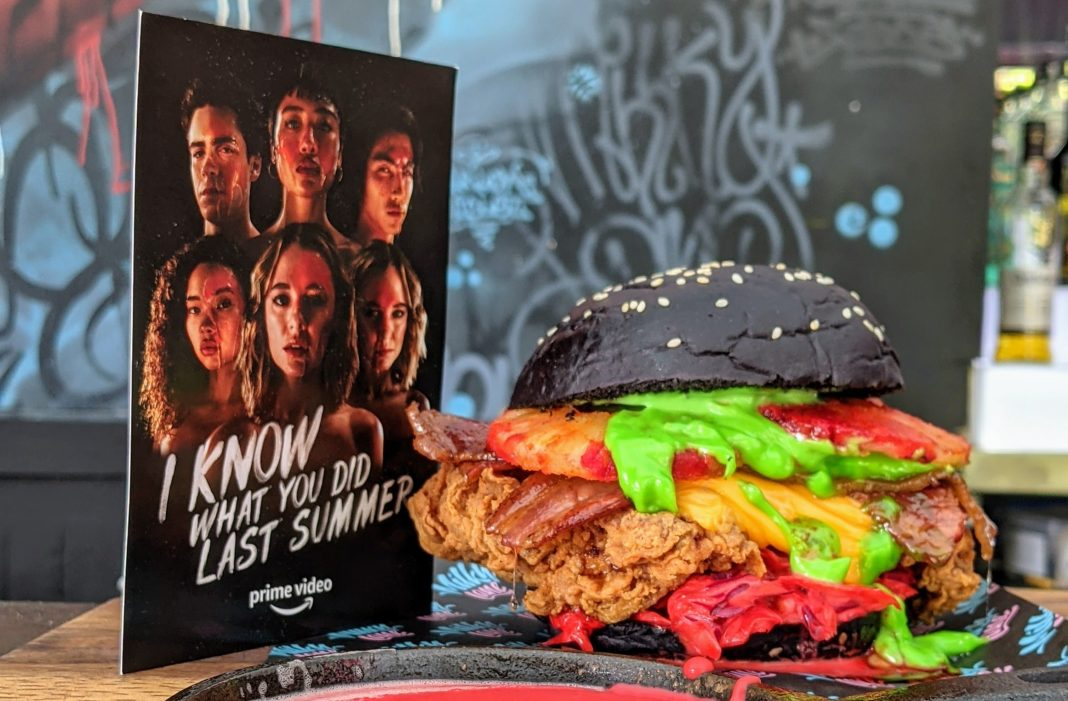 The 'Screaming Bloody Burger', available for a limited time at Milky Lane, partnered with Deliveroo and Amazon Prime Video (image - Amazon Prime Video)