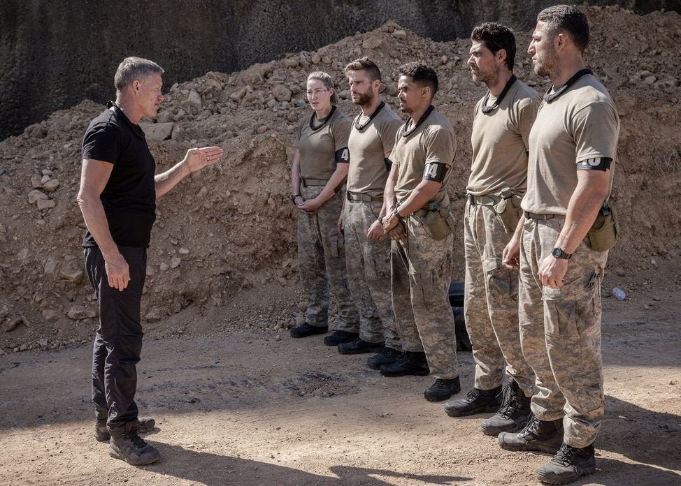 The DS lay down the law on the recruits in SAS AUSTRALIA (image - Seven)