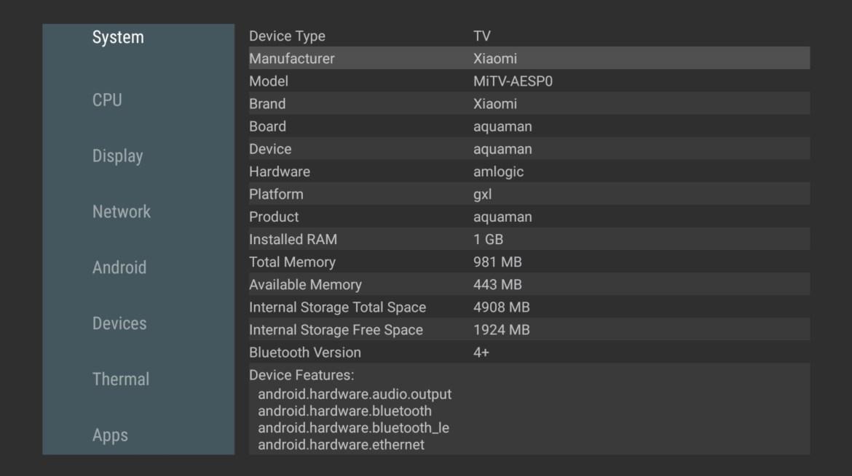 Xiaomi Mi TV stick system information