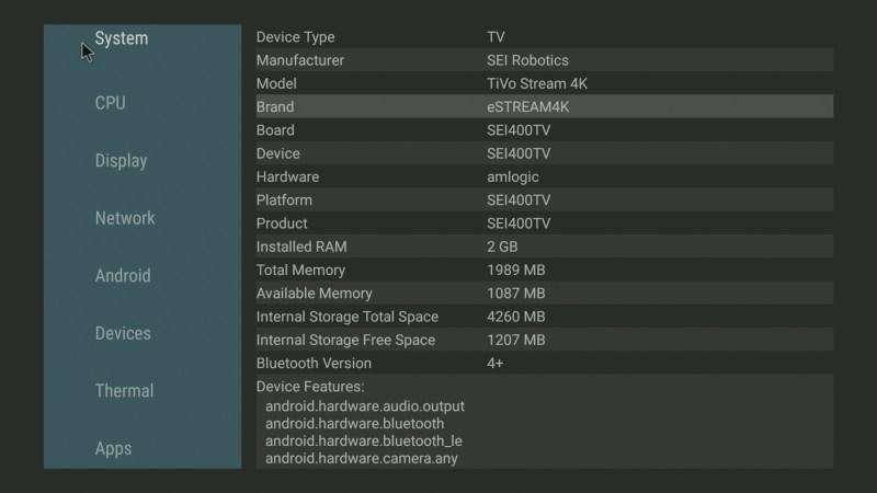TiVo Stream 4K system info