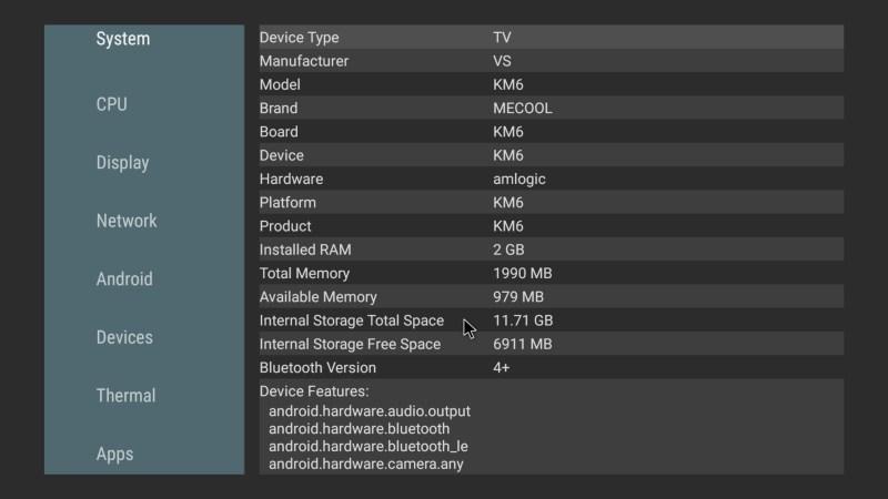 Mecool KM6 Classic system info