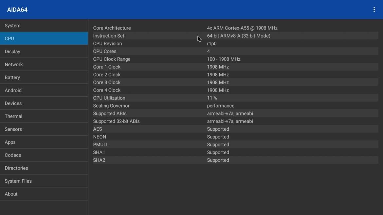 S9 Max TV Box CPU info