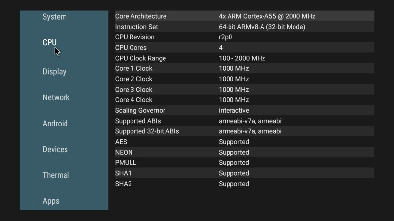 Mecool KM6 Deluxe CPU Info