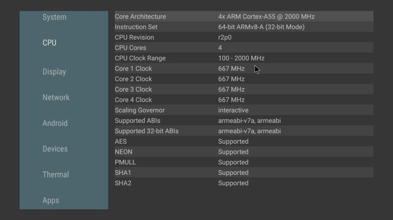 Mecool KA2 Now CPU info