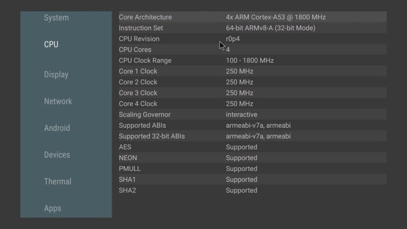 Mecool KM2 CPU info
