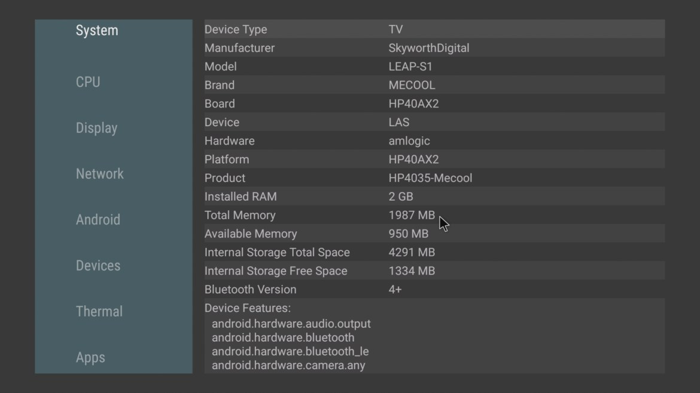 Mecool KM2 system info