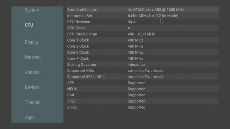 HiMEDIA S500 CPU info