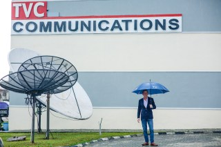 TVC CEO In Front of TVC Broadband satellite