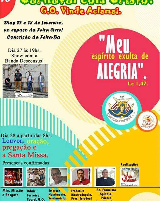 Confira a programação do Feriado de Carnaval para Conceição da Feira
