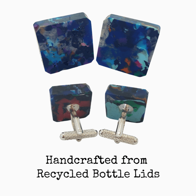 Recycled plastic cufflinks