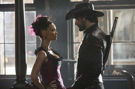 Thandie Newton and Rodrigo Santoro in Westworld