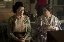 Victoria Hamilton and Claire Foy in The Crown