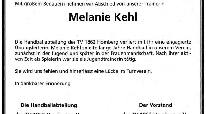 Nachruf Melanie Kehl