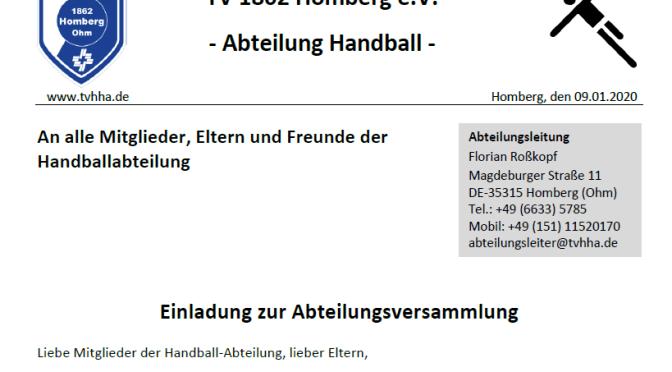Handball-Abteilungsversammlung am 07.02.2020 um 19:30 Uhr im Gasthof Frankfurter Hof