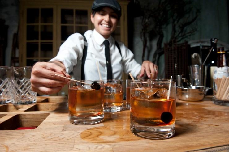 Bartender serving drinks at San Francisco Cocktail Week