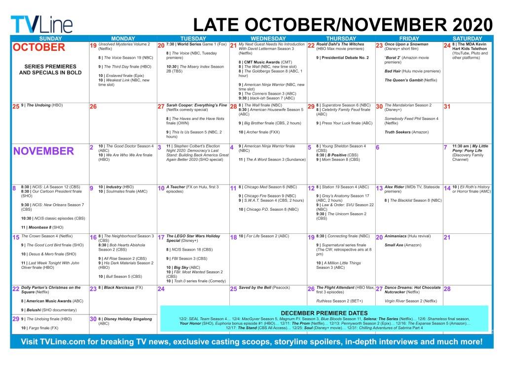 Tvline Fall 2021 Calendar Photos