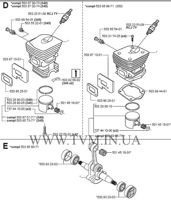 Запчасти для бензопилы HUSQVARNA 350, 351, 353 экономные