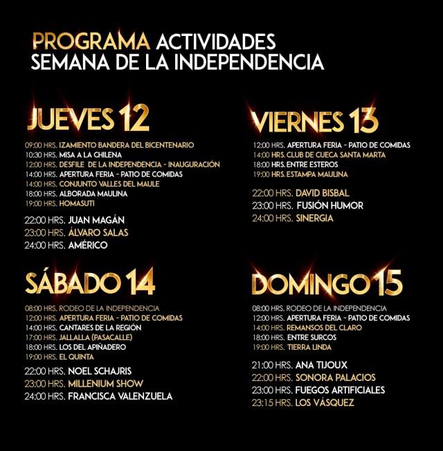programación completa semana de la independencia