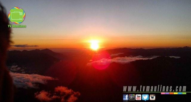 puesta de sol, volcan antuco