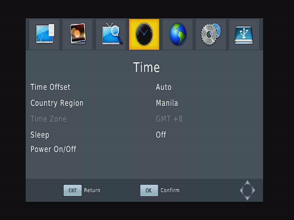 Car ISDB-T English OSD Menu Time setting