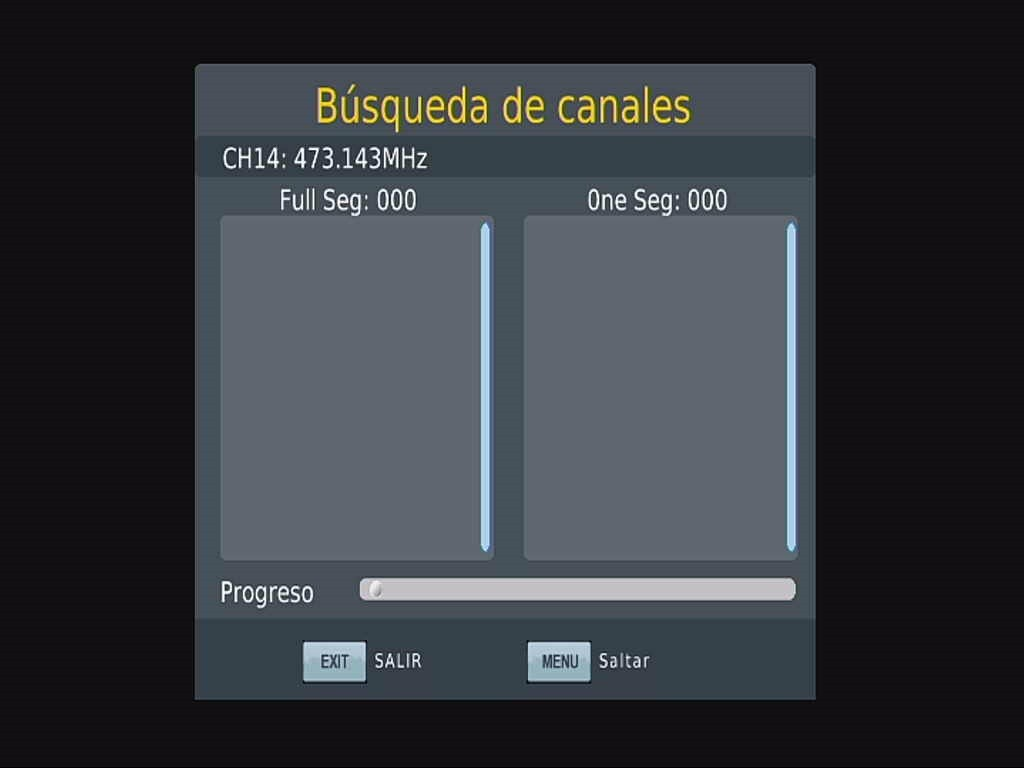 Menú ISDB-T del coche de OSD España Búsqueda automática de canales