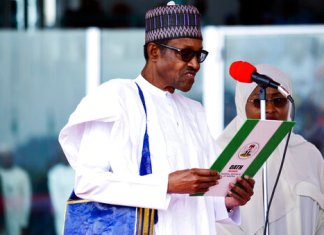 Nigerian President Muhammadu Buhari is sworn in for a second four-year term in Africa's most populous nation in Abuja, Nigeria, Wednesday May 29, 2019. (AP Photo)