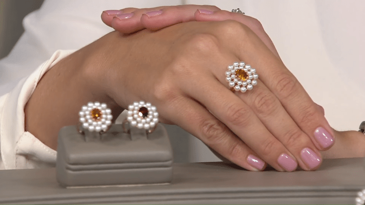 Honora Gemstone and Pearl Flower Ring, 14K Gold on QVC 4-31 screenshot