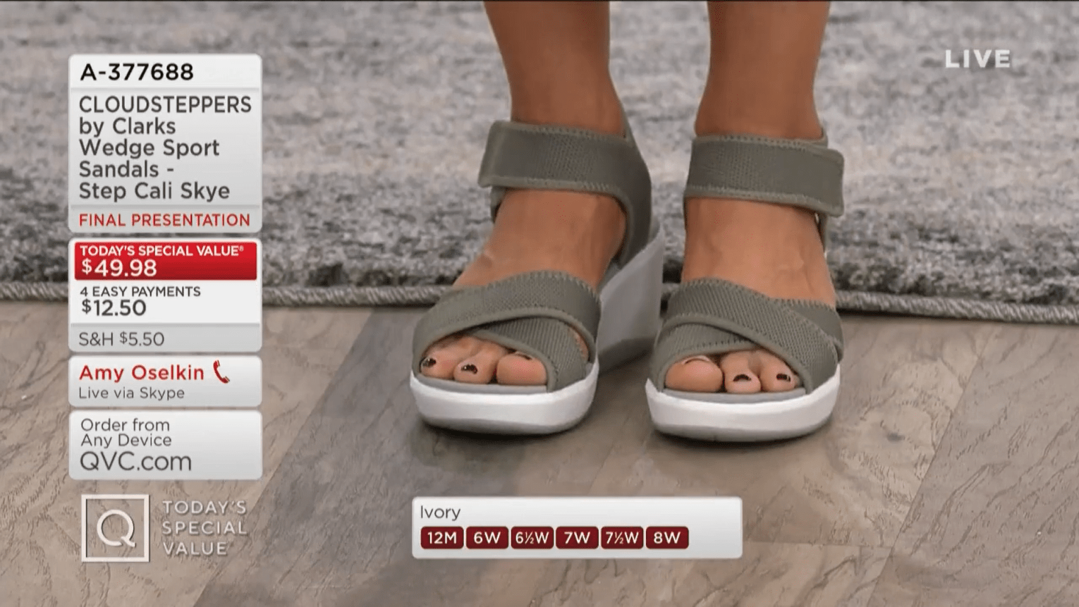 Close up of QVC show host Amy Stran's feet in Clarks wedge sandals.