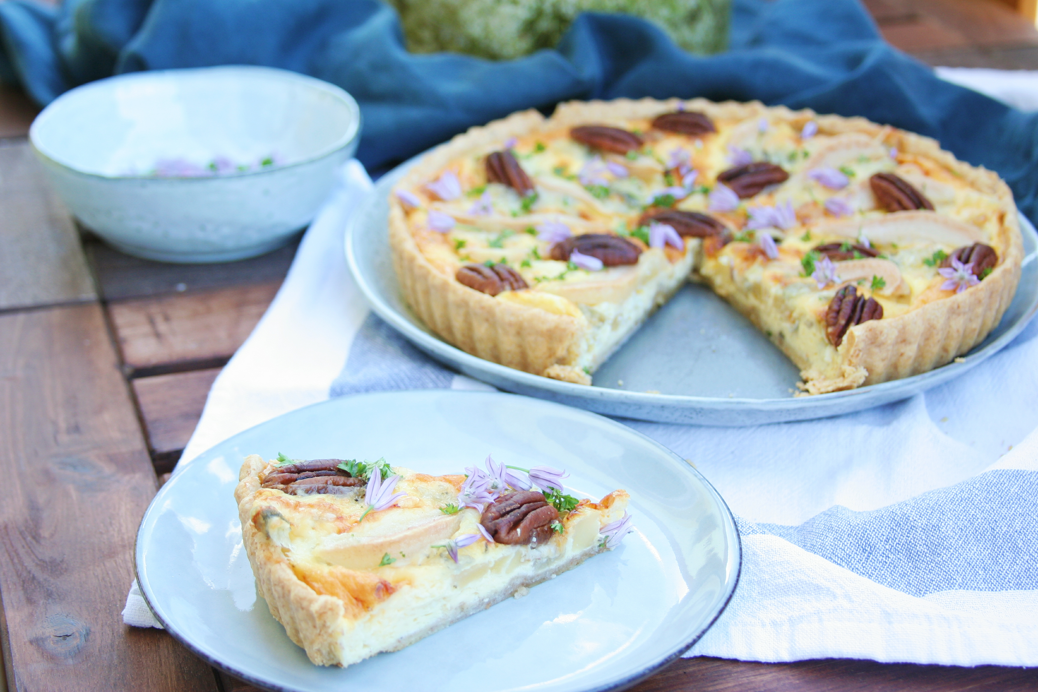 Quiche s hruškou a blue cheese