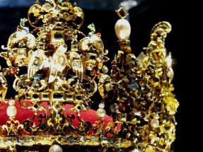 Danish royal crown choked with jewels