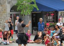 Busker in Montreal's Place Jacques Cartier
