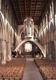 Llandaff Cathedral, Cardiff with the ugly arch and modern statue