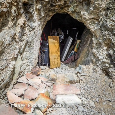 Behind Moose Mine Bldg shaft with stored camping gear