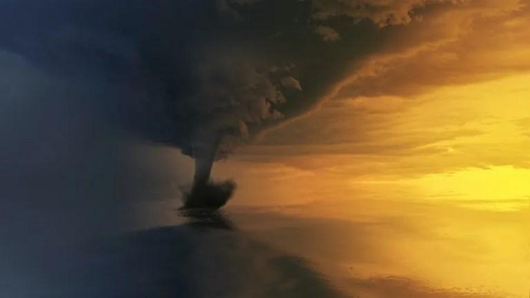 tornado on body of water