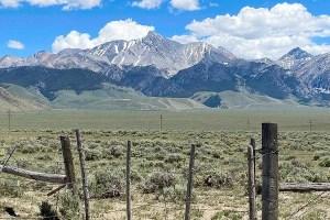 Sawtooth mountains and desert