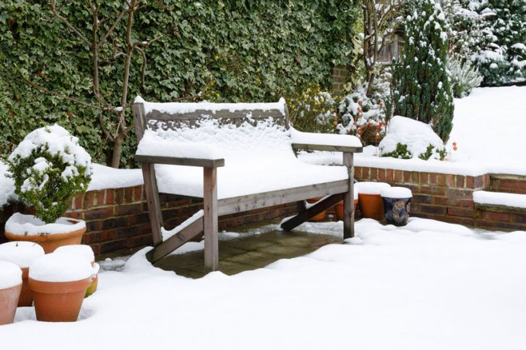 snow on patio