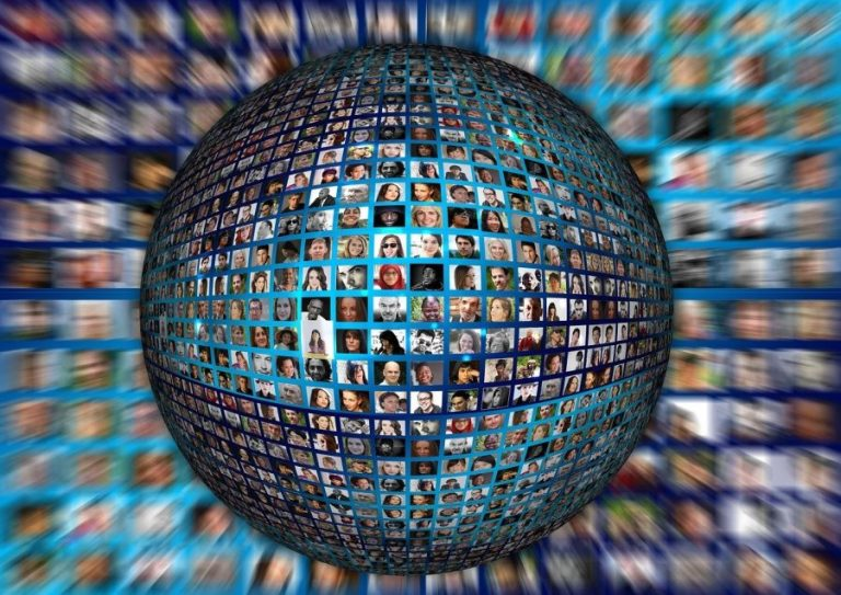 globe of people's faces